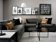 Contemporary Black and Grey Living Room Black and Grey Living Room  - Gray and yellow family room.