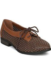 Qupid Tuxedo-13 New Leatherette Perforated Two Tone Oxford Flat - Brown