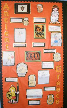 A super Ancient Greece classroom display photo contribution. Great ideas for your classroom! Ancient Greece Ks2, Ancient Rome, Ancient Greek, Ancient History, School Displays, Library Displays, Classroom Displays, School Wall Decoration, Study History