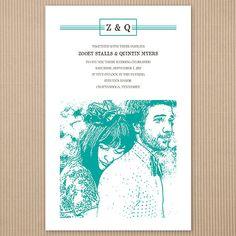 Illustrated Wedding Invitation  50  Custom by WeddingPaperGenie, $110.00