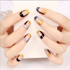 2016 Fashion 24Pcs/set  4 Colors Irregularity 2016 Fashion 24Pcs/set  4 Colors Irregularity Grids Fake Nails Acrylic Ellipse Shape Full Nail Tips False Nails Set Isbel Accessories