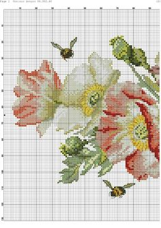 123 Cross Stitch, Cross Stitch Flowers, Counted Cross Stitch Patterns, Cross Stitch Charts, Hand Embroidery Stitches, Cross Stitch Embroidery, Embroidery Patterns, Quilt Patterns, Rosa Shabby Chic