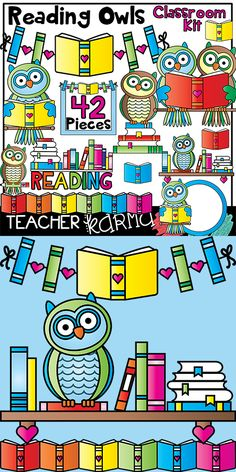 Reading Owls Classroom Kit!  Clipart, borders, frames, buntings, dividers, and papers!  TeacherKarma.com