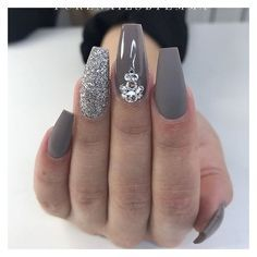 Gray coffin nails (18) Pinterest ❤ liked on Polyvore featuring beauty products and nail care