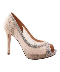 Look at this Lauren Lorraine Nude Lace Barrie Peep-Toe Pump on #zulily today!