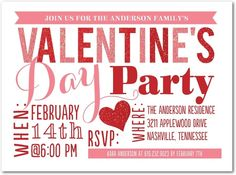 Sparkling Splendor - Valentine's Day Party Invitations in Siren | Ann Kelle