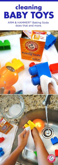 Clean and deodorize toys the simple and inexpensive way! Simply add a touch of ARM & HAMMER™ Baking Soda to a bowl of water, scrub toys and rinse. Now your little one can keep toys close and chemicals far, far away.