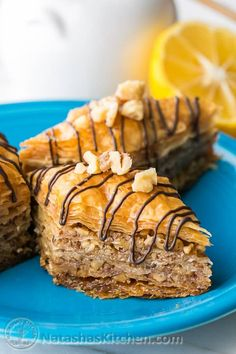 This baklava is flaky, crisp, tender and I love that it's not overly sweet. No s… This baklava is flaky, crisp, tender and I love … Greek Desserts, Just Desserts, Delicious Desserts, Dessert Recipes, Fudge, Sweet Treats, Yummy Treats, Melting Chocolate Chips, Melted Chocolate