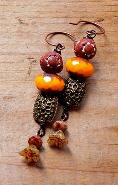 persimmons - rustic bohemian clay blossom earrings