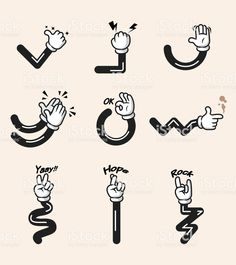Assorted collection of comic cartoon hand gesture. Drawing Cartoon Characters, Cartoon Art Styles, Cartoon Drawings, Retro Illustration, Character Illustration, 1930s Cartoons, Classic Cartoons, Photos Hd, Character Design Animation