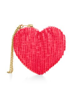 Get love-struck with our novelty heart-shaped purse, embellished with beads. Features a zip fastening.