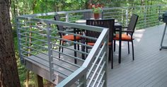 You would want to make use of deck railing that can last long. Here are some deck railing ideas that can help you out in your decisions. Horizontal Deck Railing, Metal Deck Railing, Deck Balusters, Deck Railing Design, Balustrades, Deck Design, Railing Ideas, Outdoor Handrail, Porch Railings