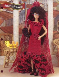 Spanish Rose Dress Mantilla for Barbie Doll Crochet Pattern 30 Days to Pay | eBay