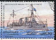 URUGUAY - CIRCA 1991: stamp printed by Uruguay, shows Steam Yacht