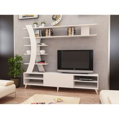 Renwick Entertainment Center for TVs up to 50 inches – Tv unit decor – Welcome The Tv Units Wall Unit Designs, Living Room Tv Unit Designs, Living Room Wall Units, Tv Unit Decor, Tv Wall Decor, Wall Tv, Tv Cabinet Design, Tv Wall Design, White Tv Unit