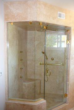 Custom Frameless Shower Door with floor to ceiling fixed