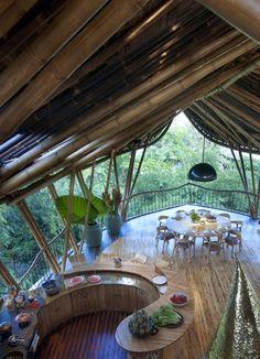 Sustainable Bamboo Tree House In Bali Home Design And Interior Bamboo House, Bamboo Tree, Bamboo Architecture, Architecture Design, Innovative Architecture, Home Design, Tree House Interior, Interior Livingroom, Beautiful Homes