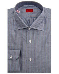 Isaia Blue and Tan Herringbone Stripe Dress Shirt Spread collar Mitered cut cuff Single button cuff 100% cotton Made in Italy