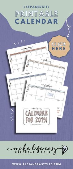 Printable Calendar 2019 Monthly Planner Inserts, Year at a Glance - printable calendars