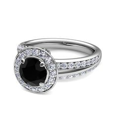 Halo Pave Black Diamond Engagement Ring in Platinum