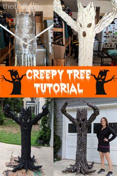 Halloween DIY Halloween Creepy Tree Yard Haunt Tutorial - This should definitely keep your neighbors Scary Halloween Decorations, Halloween Trees, Halloween 2020, Holidays Halloween, Fall Halloween, Halloween Witches, Diy Halloween Props, Diy Halloween Graveyard, Happy Halloween