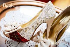 handpainted mcqueen tartan plaid wedding shoes | via 31 Best Handmade Wedding Shoes http://emmalinebride.com/bride/handmade-wedding-shoes/