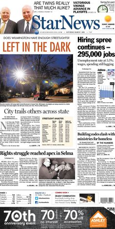 Front page for Saturday, March 7, 2015