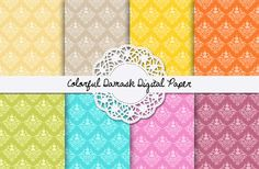 Check out Colorful Damask Digital Paper by Dora Katona on Creative Market