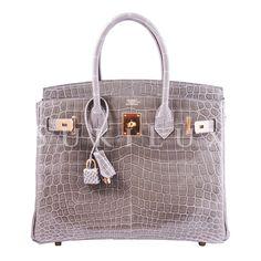 a6793dfdfa Hermes Birkin 30cm Gris Tourterelle 81 Shiny Nilo Crocodile Gold Hardware Hermes  Bags