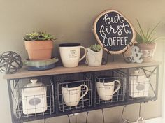 """small wood slice chalkboard sign """"but first, coffee"""""""