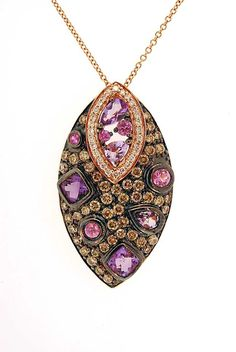 Le Vian Necklace in 14K Rose Gold with Amethyst and Pink Sapphires  and Chocolate and White Diamonds -- 3,497.50. Love the fifty cents . . . :)