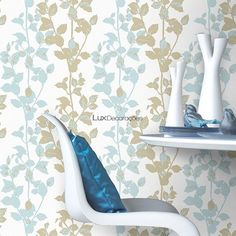 Muresco CasaBella 103-1 Papel de Parede Vinilizado  Azul Céu claro, Creme Suave, Verde Oliva