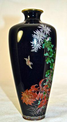 ваза, горячая эмаль, япония , перегородчатая эмаль, клуозоне