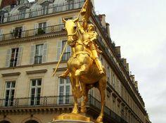 Golden statue of Saint Joan of Arc in Paris  http://parisisparis.com/guides/