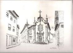 Autor: José Marques - Desenho a nanquim 20X30 - Título: Capela das Malheiras