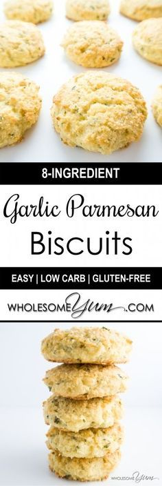 Garlic Parmesan Biscuits (Low Carb, Gluten-free)   Wholesome Yum - Natural, gluten-free, low carb recipes. 10 ingredients or less.