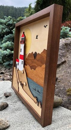 Wood Shadow Box Scene / Lighthouse By The Sea / Handcrafted / Laser Cut Etched and Inlaid / Whales and Gulls / Coastal Seaside, Mountains Laser Cut Holz Shadow Box Szene / Leuchtturm am Meer / 3d Laser, Laser Cut Wood, Laser Cutting, Wood Crafts, Diy And Crafts, Paper Crafts, Woodworking Jigs, Woodworking Projects, Intarsia Holz
