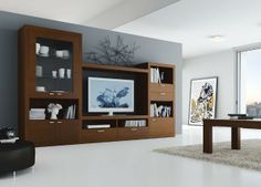 Amplio Mueble de Salón con vitrina en cristal