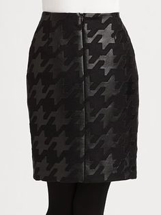 Akris Punto - Leather Houndstooth Skirt