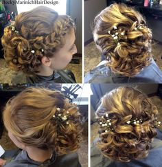 Intricate waves pinned up with soft braid for bride. ~By Stylist Becky Marinich