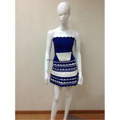 Herve Leger Blue and White Strapless Lotus Edges Bandage Dress H037LBLW