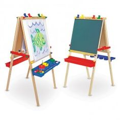 Deluxe Wooden Standing Art Easel - Educational Toys Planet. Great gift for 3 years old child. Little Picasso and Van Gogh can draw their hearts out with the top selling standing wooden art easel, quality made by Melissa and Doug. Develops Skills - creativity, imagination, manipulative skills. #toys #learning #educational #gifts #child https://www.educationaltoysplanet.com/deluxe-wooden-standing-art-easel.html