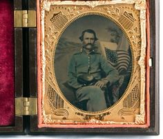 Civil-War-Soldier-Hand-Tinted-Uniform-amp-Flag-in-034-UNION-61-034-MAT-A-RARE-IMAGE