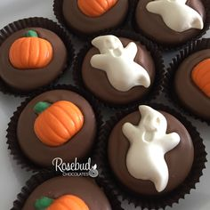 Milk Chocolate Hand Dipped Oreo Cookies with Ghosts and Pumpkins... Halloween Candy Treats www.rosebudchocolates.com