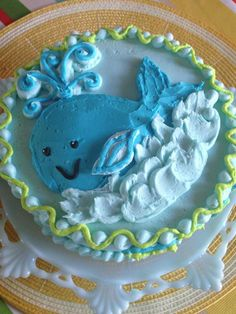 baby smash cake with buttercream whale - #nutfree - www.ccnutfree.com