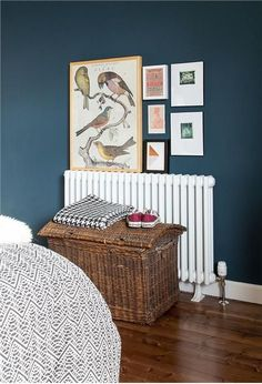 Hague Blue Bedroom An inspirational image from Farrow and Ball Dark Walls, Blue Walls, Dark Blue Bedroom Walls, Dark Wood Floors Living Room, Estilo Craftsman, Bedroom Colors, Bedroom Decor, Bedroom Ideas, Blue Rooms