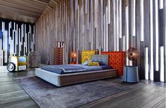 Roche Bobois - MAH JONG Bed upholstered in Jean Paul Gaultier fabrics #mahjong #bed #jeanpaulgaultier #rochebobois