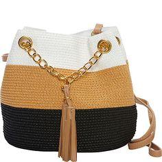 Magid Paper Straw Color Block Mini Tassel Shoulder Bag - eBags.com