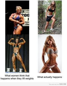 what really happens - Exactly. With a balanced diet, it's absolutely impossible to bulk up like the images to the left. The images to the left require loads and I mean LOADS of protein, supplements, additives, etc. Women don't get muscular overnight, so if you like(or dont like) what you see, keep at it or tone it down.