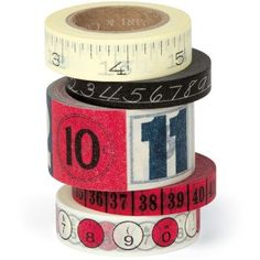 Cavallini - Tin of Adhesive Washi-Style Decorative Paper Tape - Numbers - 5 Rolls Tapas, Cinta Washi, Deux Faces, Origami, Decorative Tape, Decorative Accents, Vintage Office, Paper Source, Paper Tape